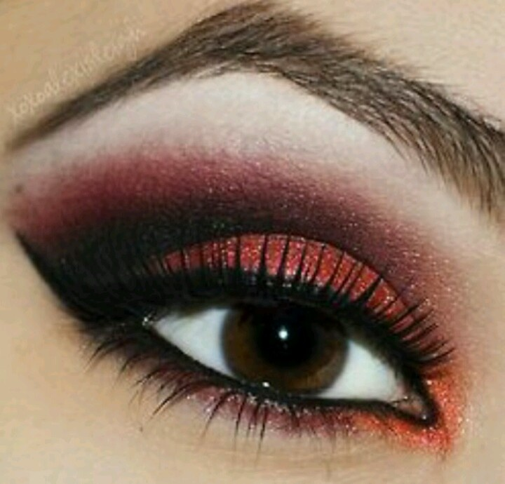 A red Smokey eye for brown eyes | Smokey eye makeup ...