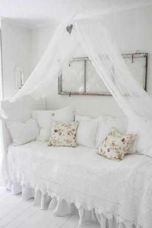 So pretty!!!  Twin bed used as a daybed, with a canopy and a salvaged window as wall art.  Love!!! by mvaleria