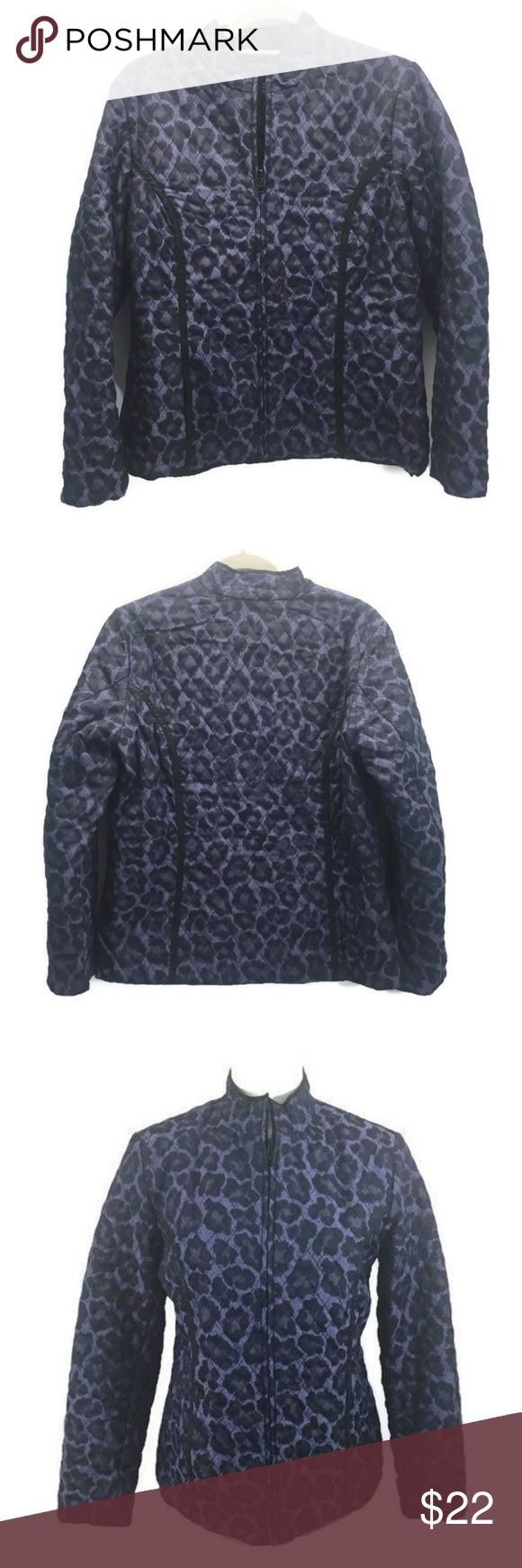 """Purple Black Animal Print Zip UP Quilted Jacket Peck & Peck Collection Purple and Black Leopard Print Quilted Jacket Womens Size Medium Zip Front Solid Black Quilted Lining  Jacket is perfect for cooler weather  Jacket is pre-owned with No Issues.  Very Clean & Nice No Stains, Tears & Fraying  Approximate Measurements taken zipped up  Bust 40"""" Length 25"""" Peck & Peck Jackets & Coats"""