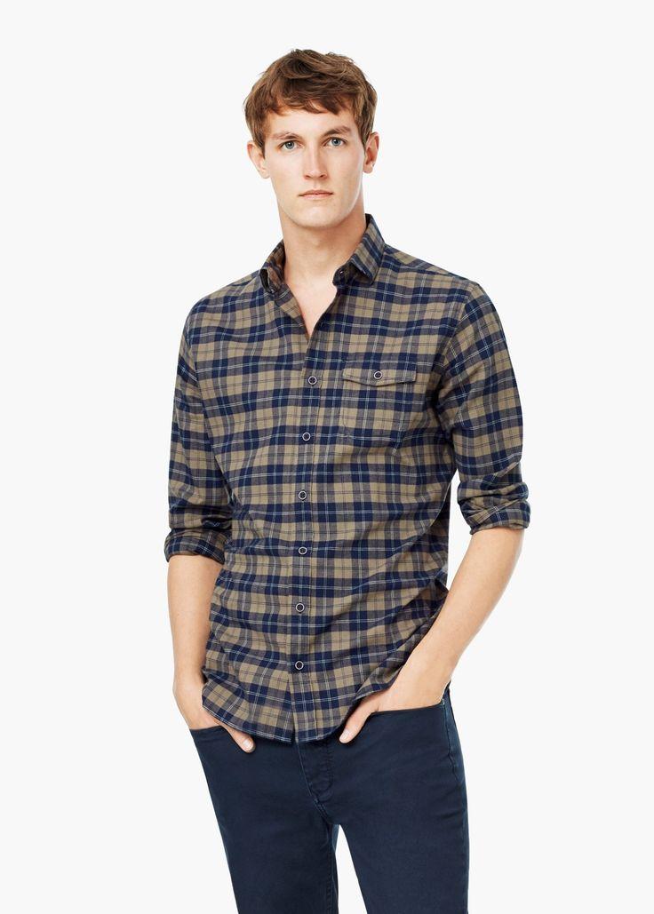 Chemise slim-fit coton à carreaux -  Homme | MANGO