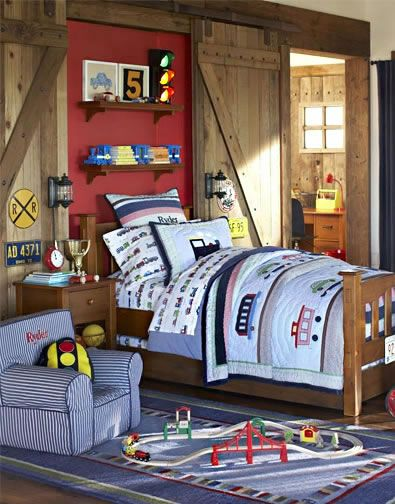 I am so doing this! How awesome to have the sliding door look!   Boys Bedroom 42