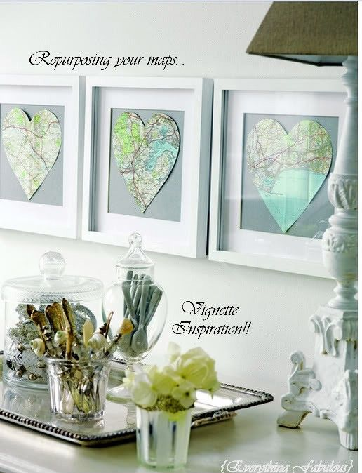 Heart maps of your favorite vacations!: Frames Maps, Gifts Ideas, Honeymoons Places, Cute Ideas, Heart Shape, Vacations Spots, Old Maps, Heart Maps, Diy Projects