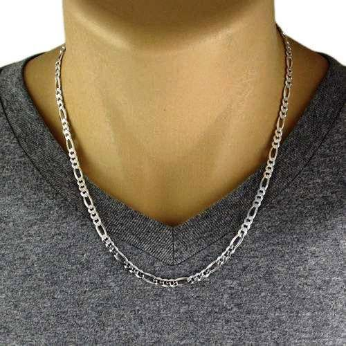 "Men's 925 Sterling Silver Figaro Chain Necklace - 120 Gauge 5 mm - 22"" - Italy"