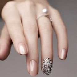 Not so keen on the ring finger design, but nice wedding day neutral color