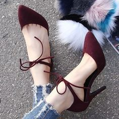 I love the color and the ankle-tie on these pumps! Such perfect early-fall shoes. x