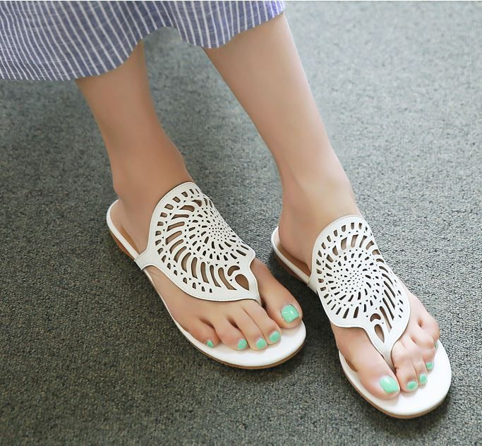StyleOnme_Abstract Cut-Out Sandals #sandals #koreanfashion