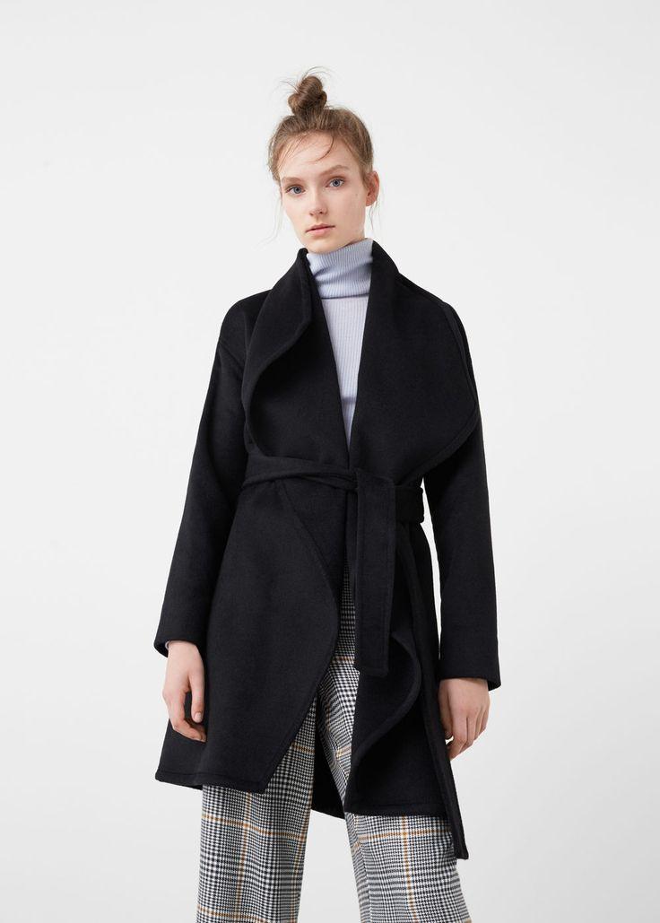 Vlněný kabát s maxi klopami | MANGO