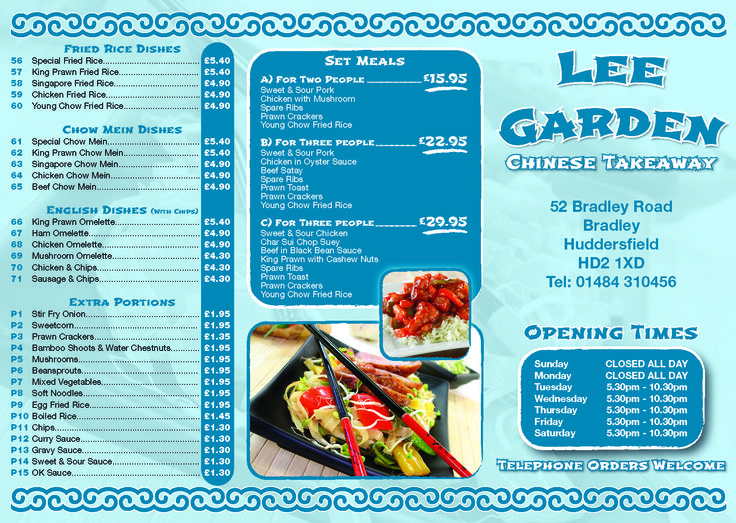 The original design we did a couple of years back for Lee garden Chinese takeaway. Really enjoyed these designs
