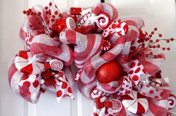 Guirnalda de la Navidad del bastón de caramelo rojo y plata