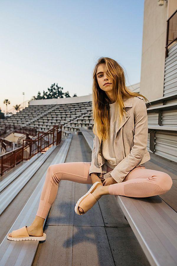 Sculpt Mesh Legging | Free People - dressed up neutral leggings outfit - peach mesh leggings with slide sandals and beige moto jacket