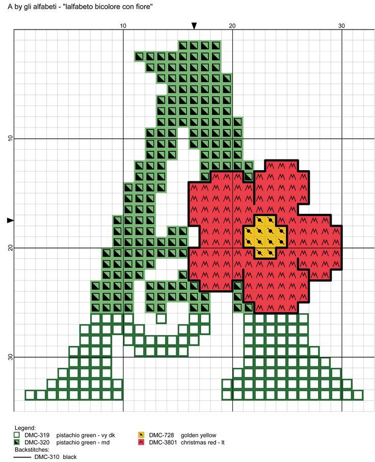 alfabeto bicolore con fiore: A