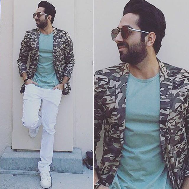 Ayushmann surely knows how to slay a camo blazer! Spotted at San Jose, U.S, before his concert in a Mr Button Blazer.