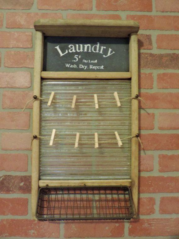 washboard turned cute laundry or bathroom decor by Huelabdesigns