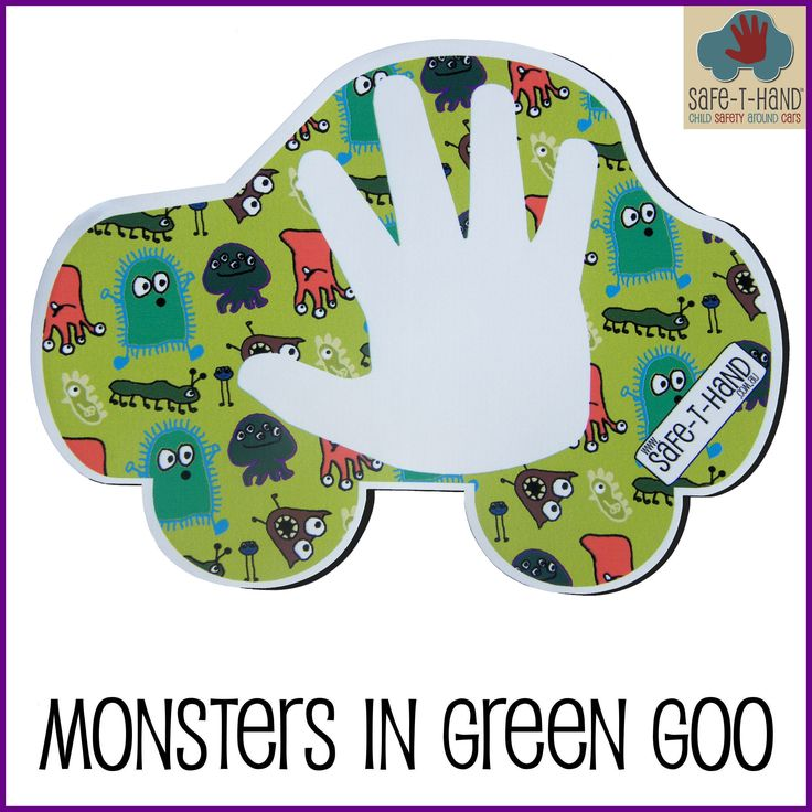a 'Monsters in Green Goo' Safe-T-Hand is $29.97 for a car Decal or a car Magnet.  #child #road #safety #awareness #solutions #monsters #green #goo #teach #tool #aid http://www.safethand.com.au