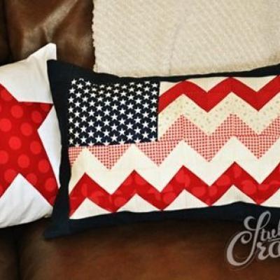 Chevron Flag Pillow Tutorial {Patriotic Decor}