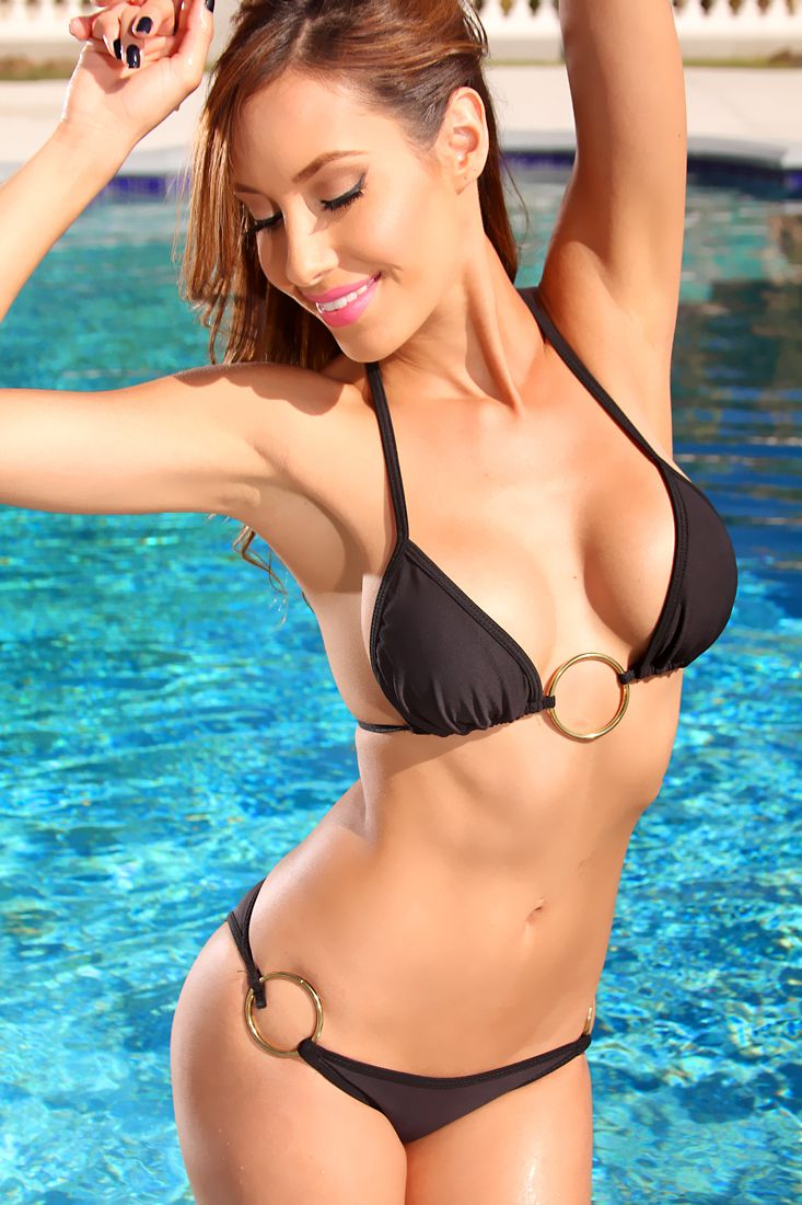 Black Gold Ring Decor Two Piece Swimsuit