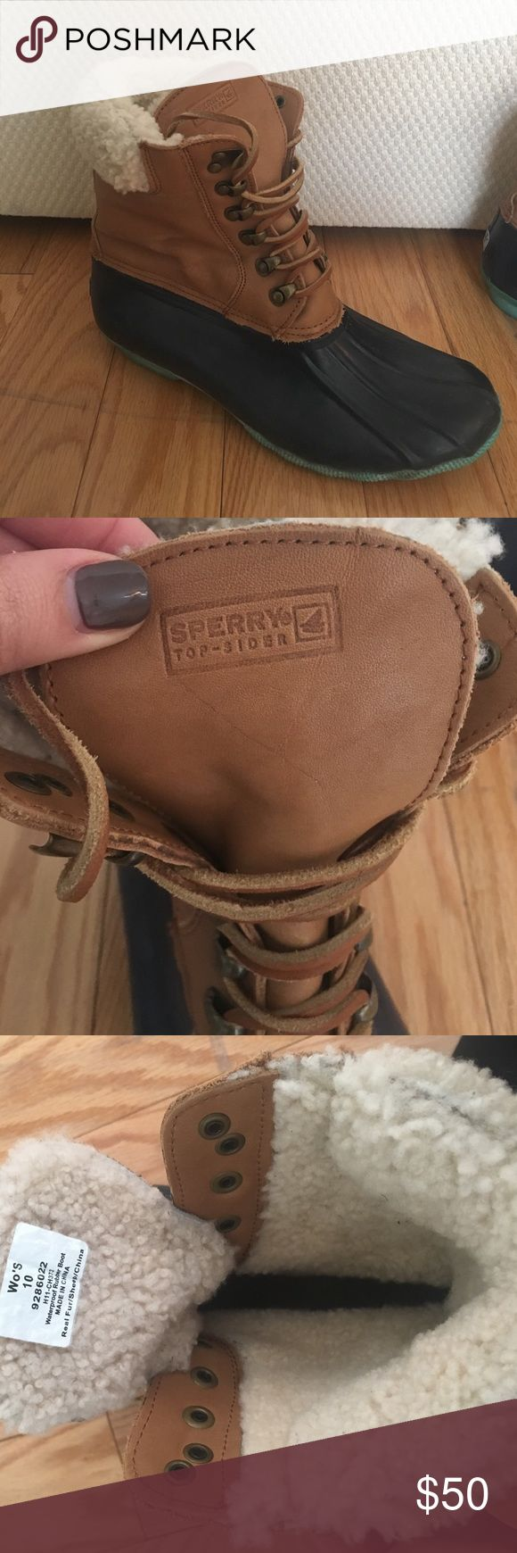 LIMITED EDITION SPERRY TOPSIDER DUCK BOOTS WOMEN'S SIZE 10 SPERRY TOPSIDER DUCK BOOTS. SHEEP FUR. MINT CONDITION. SMOKE-FREE ENVIRONMENT. Sperry Top-Sider Shoes Winter & Rain Boots