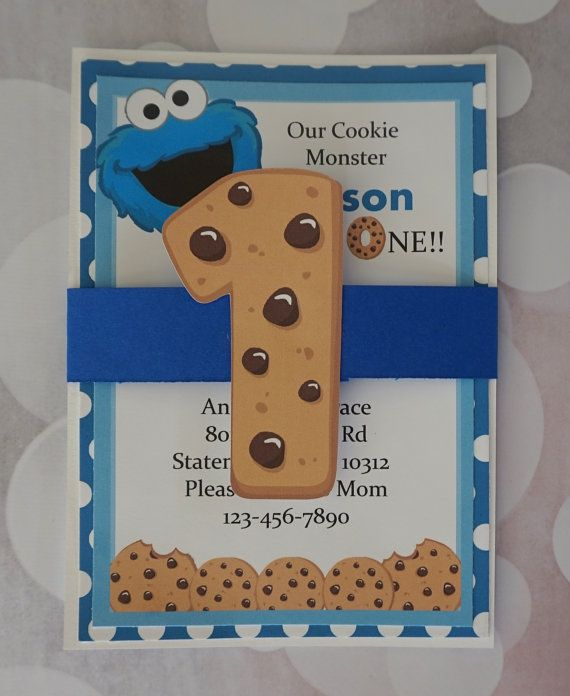 Cookie Monster Invitation Sesame Street by TooCuteInvites