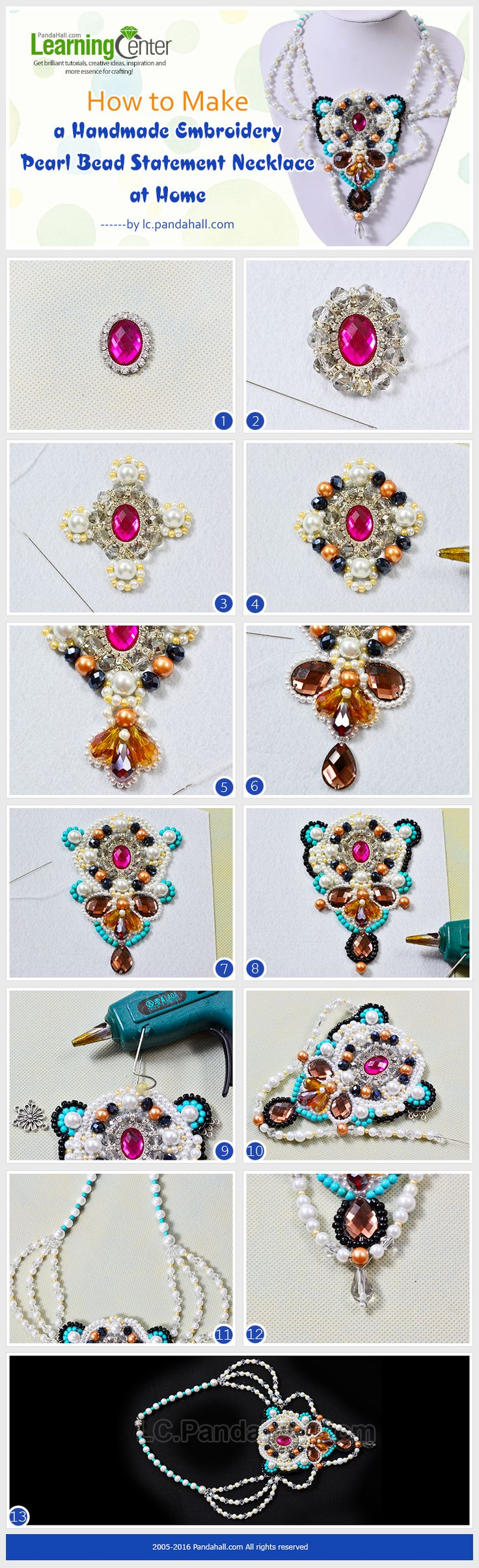 Tutorial on How to Make a Handmade Embroidery Pearl Bead Statement Necklace at Home from LC.Pandahall.com   #pandahall