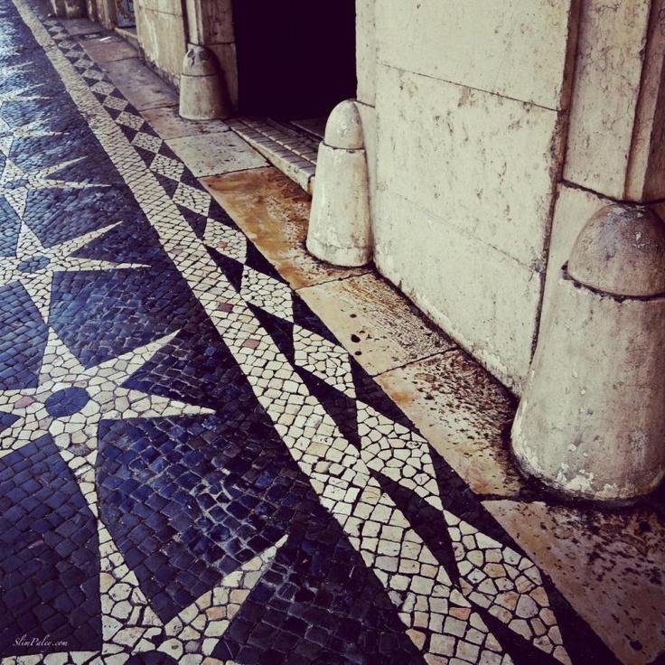 The sidewalks of Lisbon, Portugal