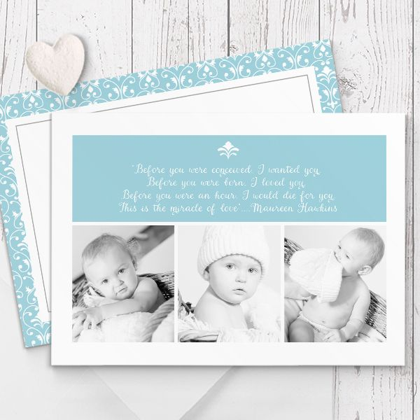Featuring multiple photos (or perfect for multiple babies!). Formal damask pattern. Baby boy photo Birth Announcement / Baby Thank You card printed on beautiful, quality double sided cardstock by Peach Perfect Australia