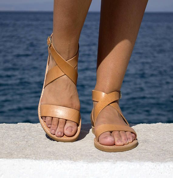 Natural Leather Sandals   X shape Ancient Greek Handmade
