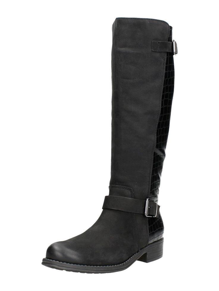 Marco Tozzi lange zwarte laarzen met lage hak en reptielenprint aan de achterkant