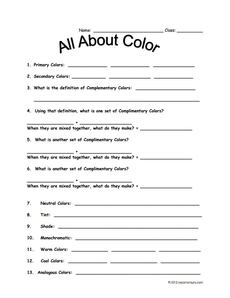 Color Theory worksheet for fourth grade Color theory