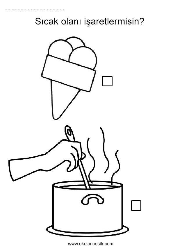 Sıcak soğuk kavramı sayfası çalışmaları, dondurma ve tencereden sıcak soğuk kavramları etkinlikleri ve örnekleri sayfaları resmi,duyu çalışması etkinliği örneği, hot cold worksheets and coloring pages printables bilgisayara indir ve çıktı alma sitesi.