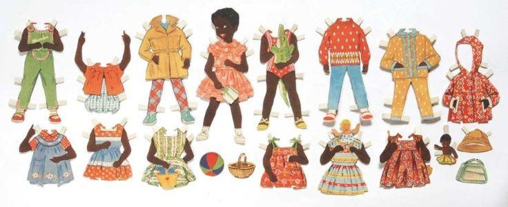 "DDR-Ausschneidepuppe ""Bimba"" - black / African / person of color little girl paper doll"