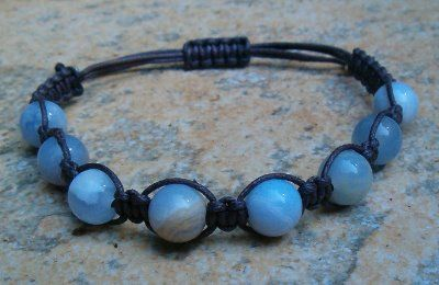 Blue Chalcedony Healing Energy Bracelet  ~ Promotes calming and serene energy Encourages reflection and meditation A stone of communication Ope...
