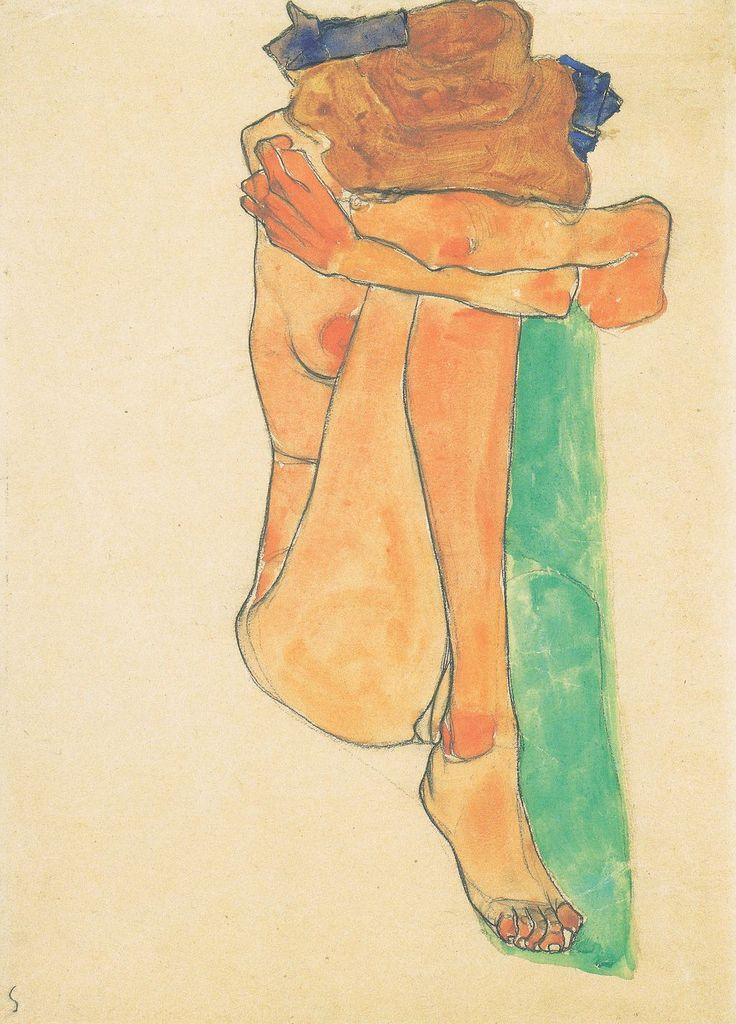 descroissants:    Weiblicher Akt mit grünem Polster(1910)  Egon Schiele