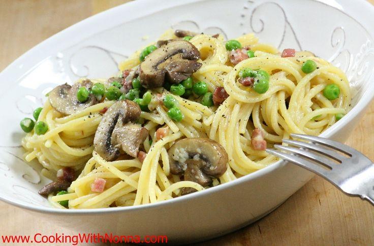 Spaghetti with Peas Prosciutto and Mushrooms