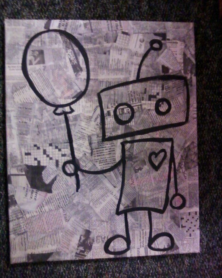 just painted it!  Robot on a newspaper canvas!