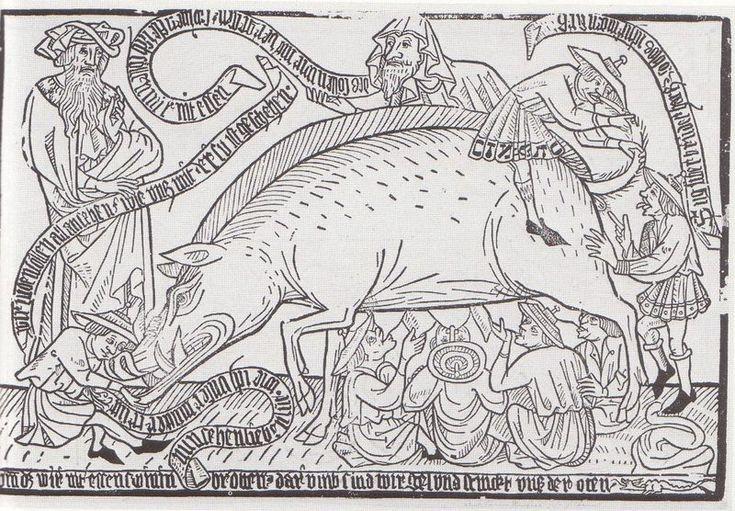 Representación de la Judensau en una libro xilográfico (Blockbuch) del siglo XV. Esta imagen antijudía creada en el centro de Europa solía representar figuras humanas con las características típicas de la vestimenta judía, como por ejemplo el sombrero judío, debajo de una puerca mamando de sus ubres, con la misma posición que tienen los lechones. Otros judíos miraban hacia el ano y abrazan y besaban a la cerda. Como imagen, la Judensau pretendía deshumanizar a los judíos
