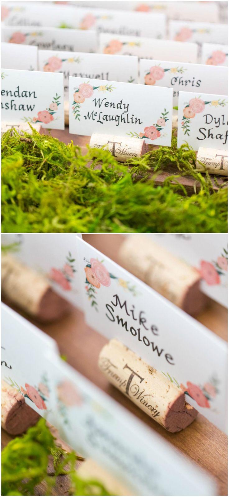 Winery wedding, escort cards, pink flower print, Trump Winery, moss, wine corks // C. Tyler Corvin Studio