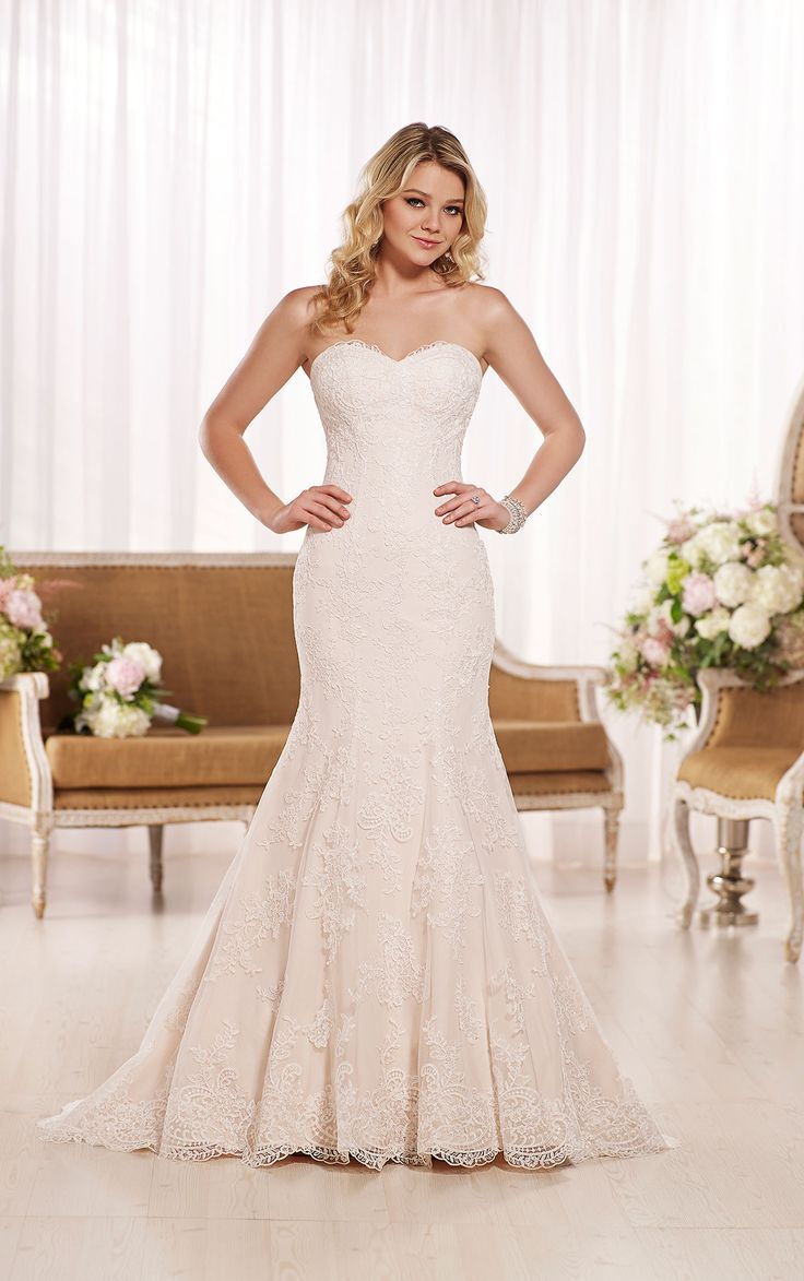 Look and love this fit-and-flare corded Lace sweetheart neckline wedding dress with curve-hugging bodice and flared skirt. Choose from corset closure or zipper closure.