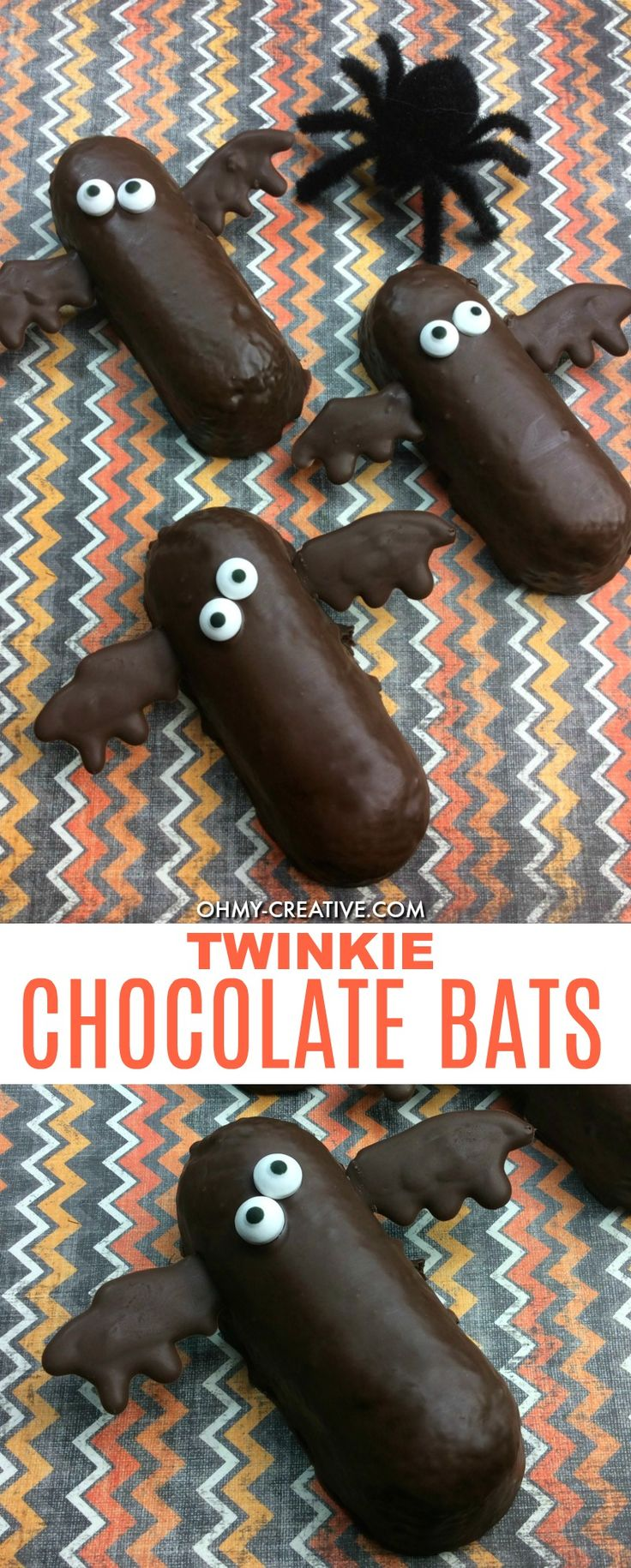 Halloween Twinkie Chocolate Bats | OHMY-CREATIVE.COM |. I would make the melting chocolate wings first, refrigerate while coating the Twinkie in the rest of the melting chocolate. Then stick the hardened wings & eyes into the just dipped Twinkie and refrigerate.