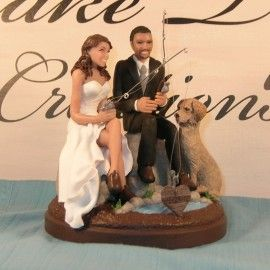 fishing and tree themed wedding cakes   wedding-cake-couple-fishing-and-a-dog-for-western-wedding-cake-toppers ...