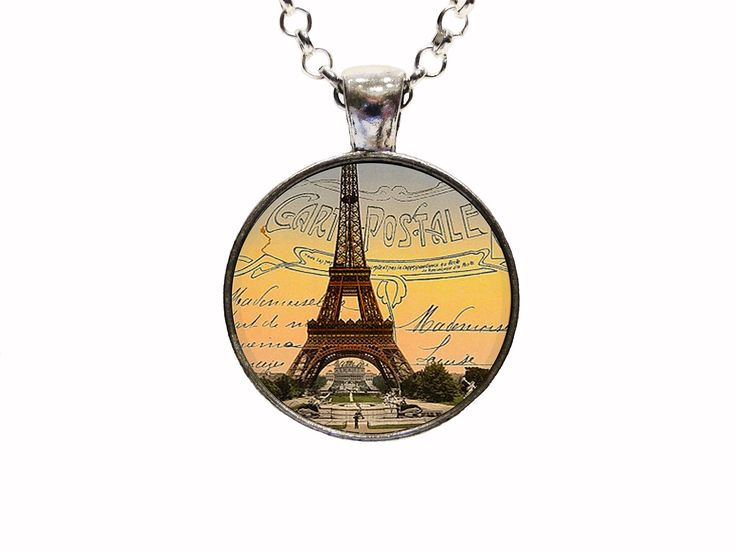 Digital Art Places Vintage Postcard Eiffel Tower Pendant Necklace or Keychain. With this listing you will receive a glass dome pendant and necklace with lobster clasp in organza bag shipped via U.S. mail with tracking number. Package is ready for gift giving. Matching key chains are also available with this design. For key chain choice select your pendant choice and then under necklace options you will select key chain. Four Pendant Choices Available: ANTIQUE SILVER ANTIQUE COPPER ANTIQUE...