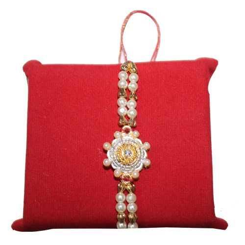 White Stone with Pearl Designer Rakhi