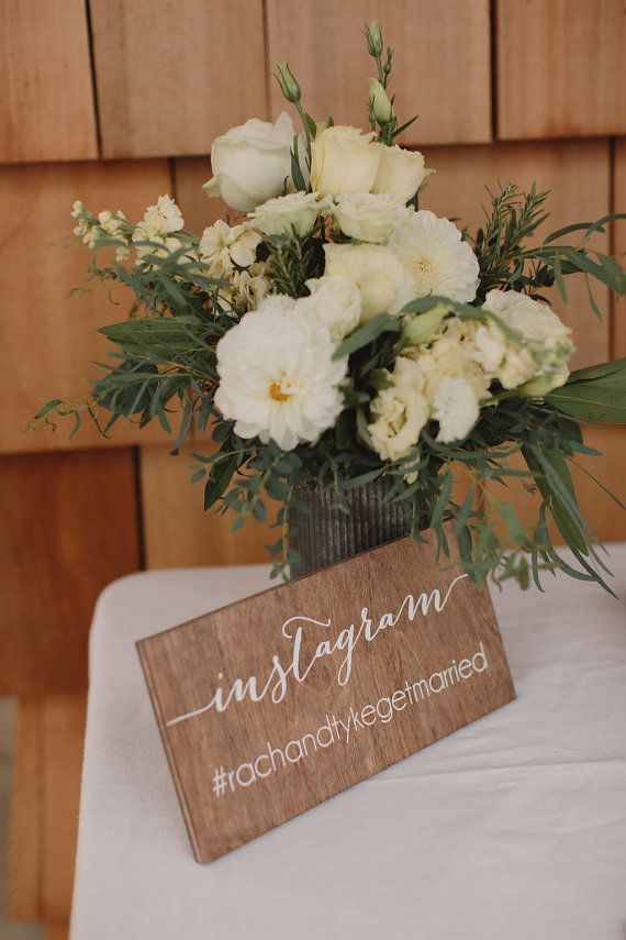 Social Media Sign - Hashtag - Wooden Wedding Signs