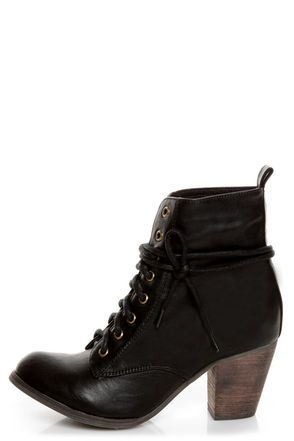 Check it out from Lulus.com! Don't be surprised when people go out of their way to compliment you on your Chelsea Crew Detour Black Lace-Up Ankle Booties; they're just that cute! Faux leather boots have a flattering, upturned round toe that leads into a lace-up panel with thick coated black shoestrings that weave up past the ankle through brass grommets. Tab at heel. Cool black and red two-tone shoestrings are also included for another versatile option! 2.75