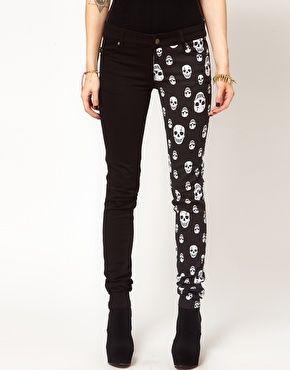 Tripp NYC Jeans With Split Leg Skull Print from ASOS