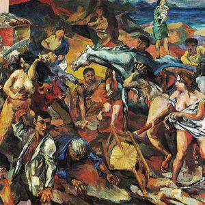 R. Guttuso, Fuga dall'Etna, olio su tela, 1940, Roma, Galleria Nazionale d'Arte moderna