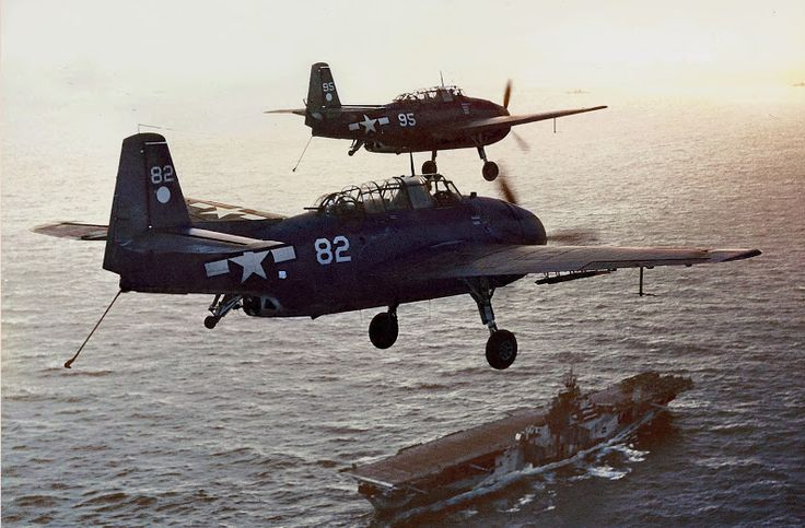 TBF-1Cs of Torpedo Squadron Two (VT-2) pass over USS Hornet (CV-12) 1944 by Irootoko - Голод - Google+