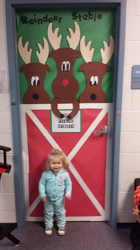 Reindeer Christmas Door Decorations Preschool