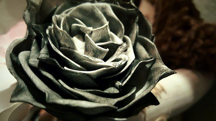 Чёрная роза♥ флористическая замша, тонировка пастелью