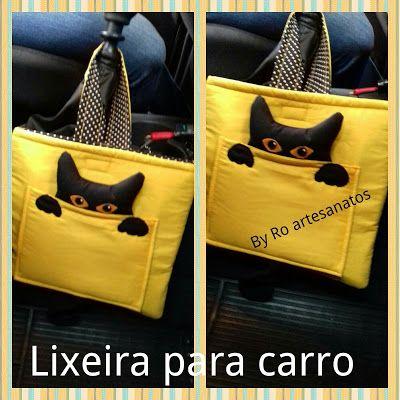 By Ro artesanatos : Lixeira para carro gatinho https://www.facebook.com/byroartesanatos/