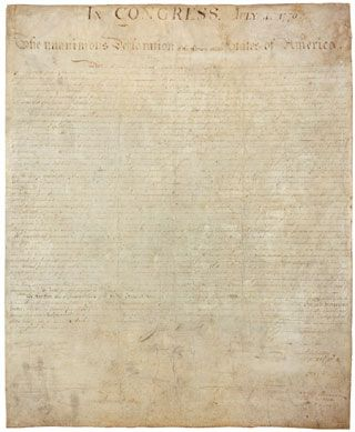 Declaration of Independence- the official signed copy.